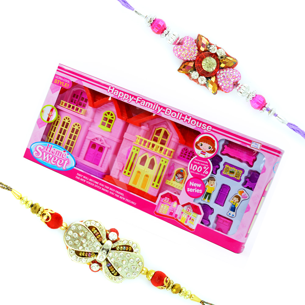 Doll House Playing Toy with 2 Designer Rakhis