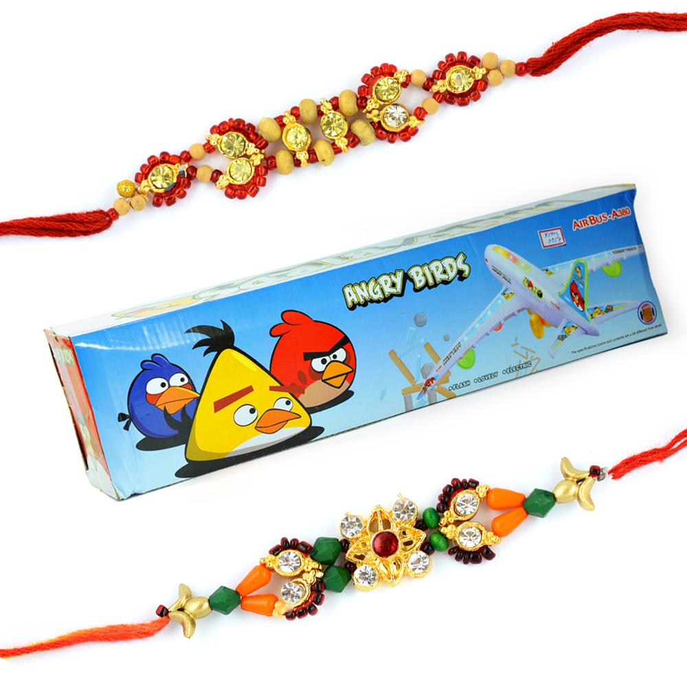 Angry Birds-Air Bus Toy for Kids n 2 Traditional Diamond Rakhis