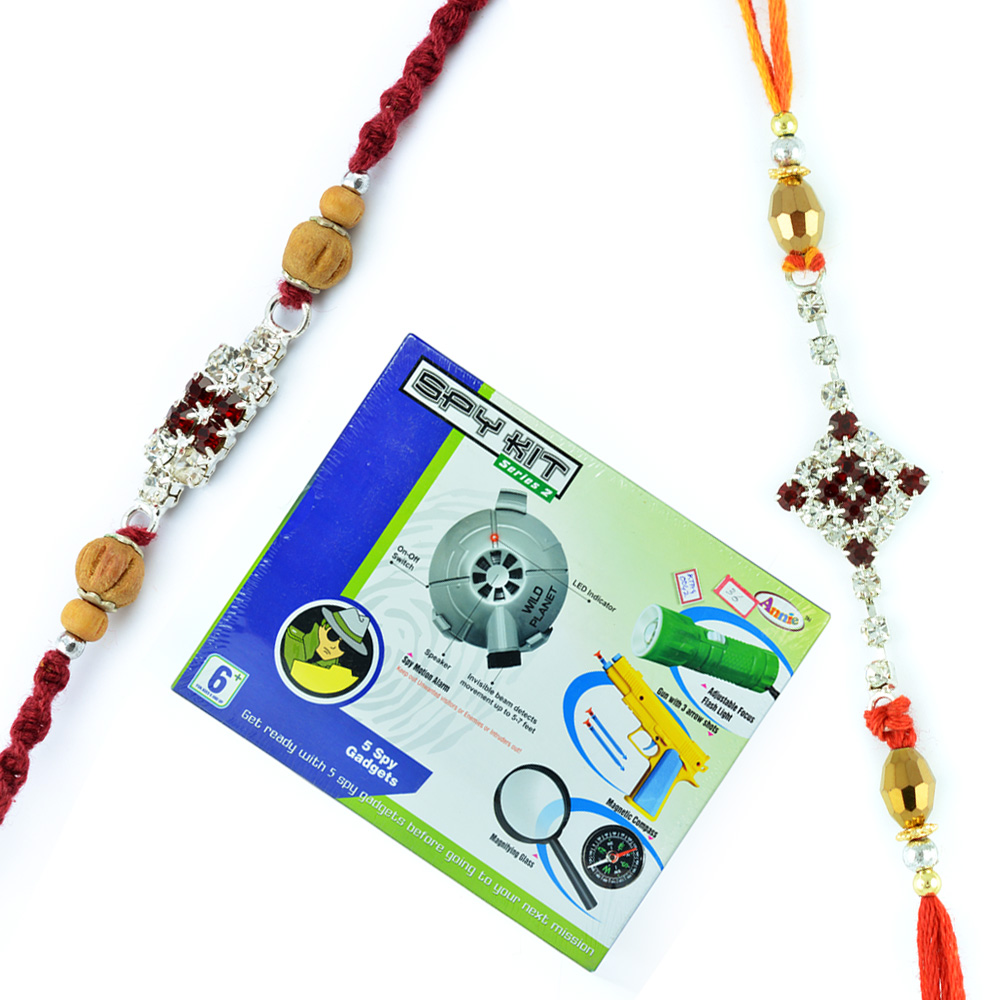 Spy Kit Series-2 and Pair of Sandalwood Jewel Rakhis
