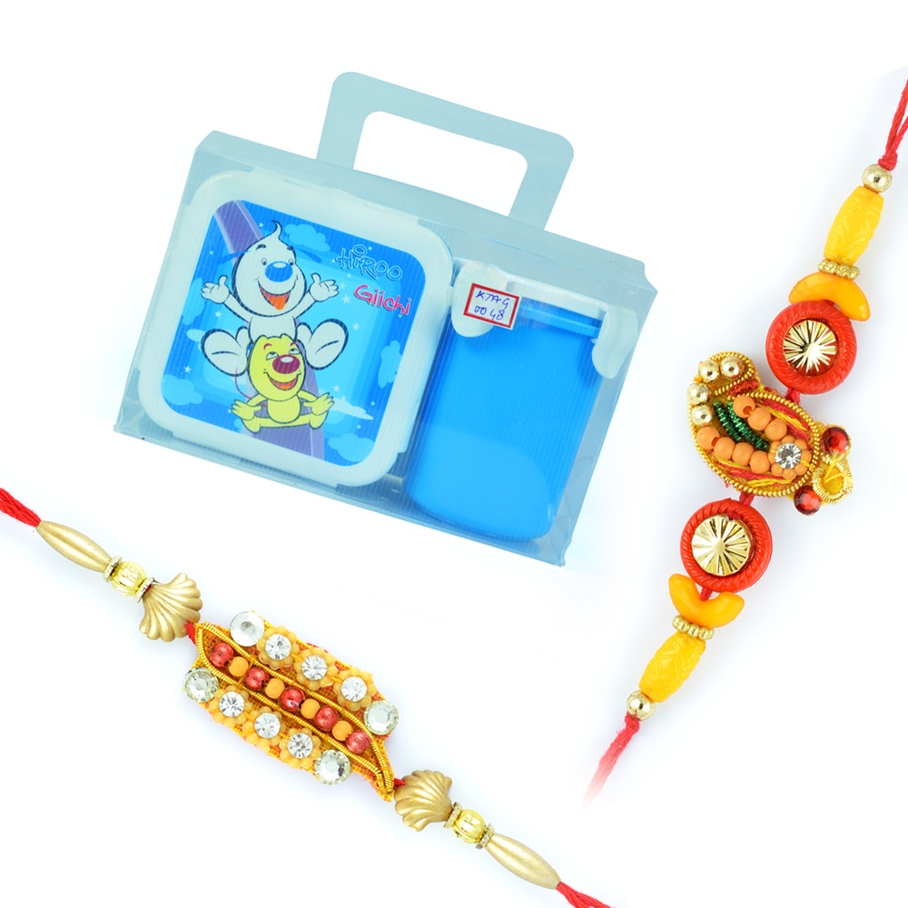 Hiroo-Tiffin Box n Water Cup with 2 Zardosi Rakhis for Brother