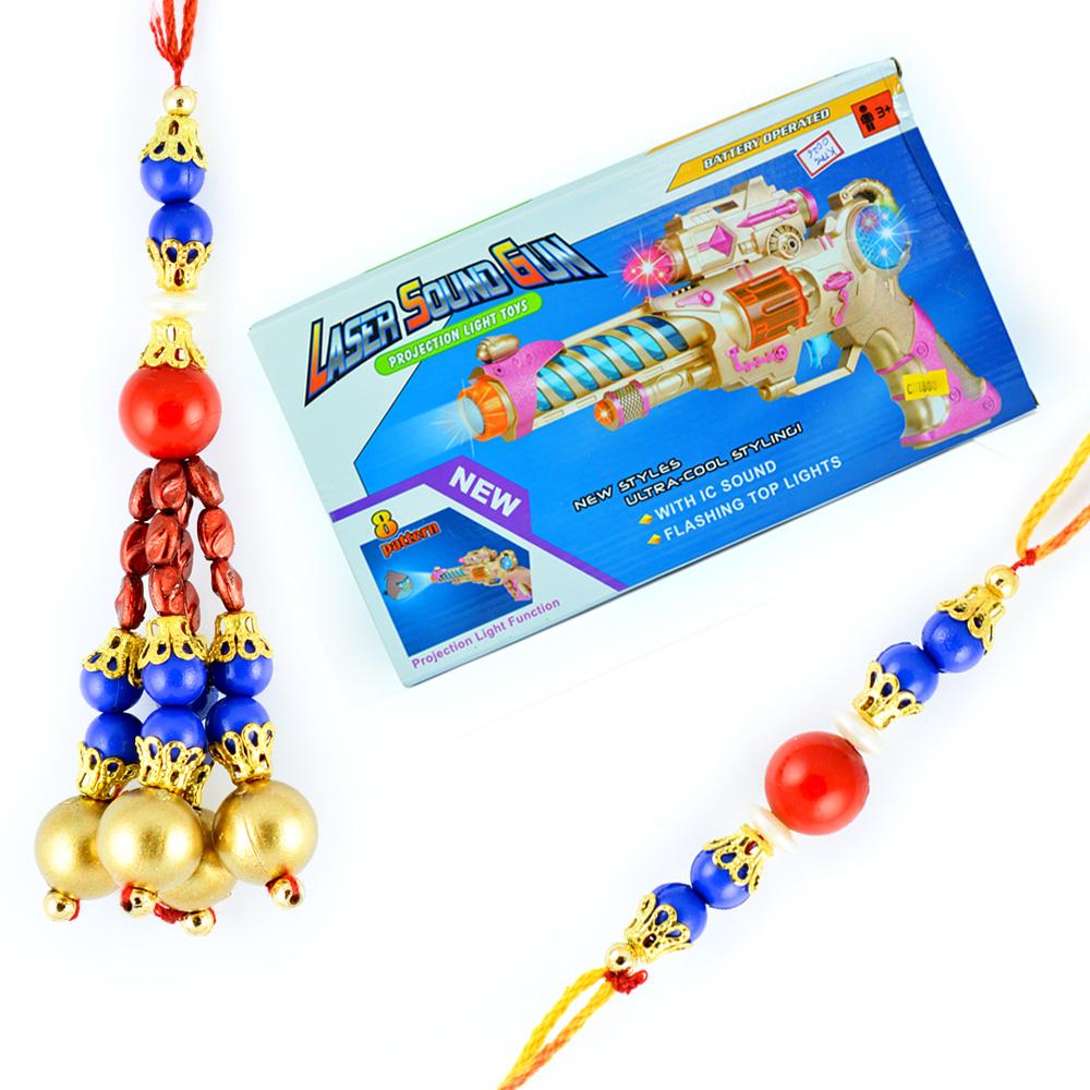 Laser Sound Gun Toy with Beads Bhaiya-Bhabhi Rakhis