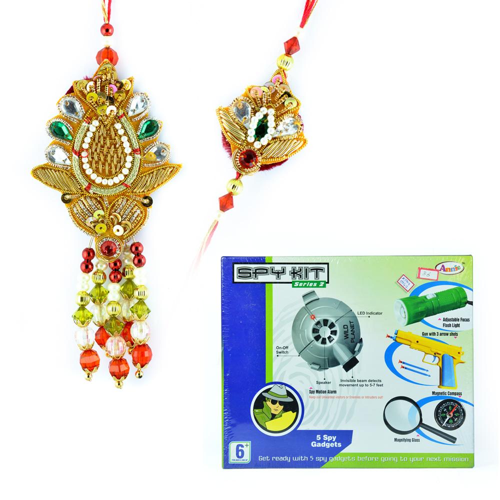 Spy Kit Series-2 with Traditional Zardosi Rakhis for Bhaiya Bhabhi