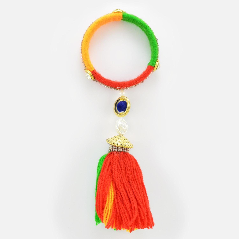 Tri-Color with Blue Beads Lumba Rakhi