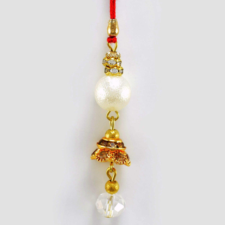 Wonderful Long Diamond Beads Lumba Bhabhi Rakhi