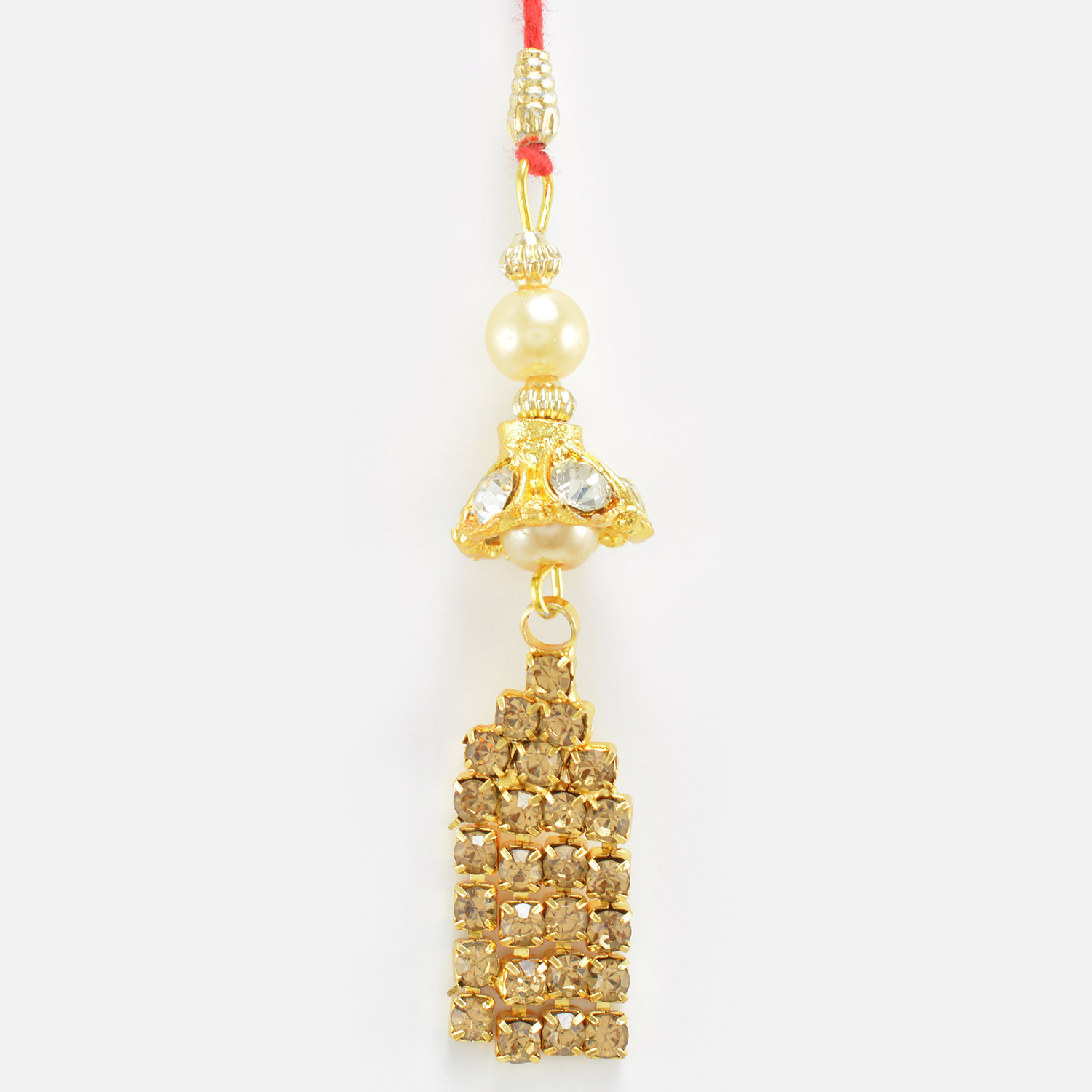 Droping Golden Base Diamond Lumba Rakhi