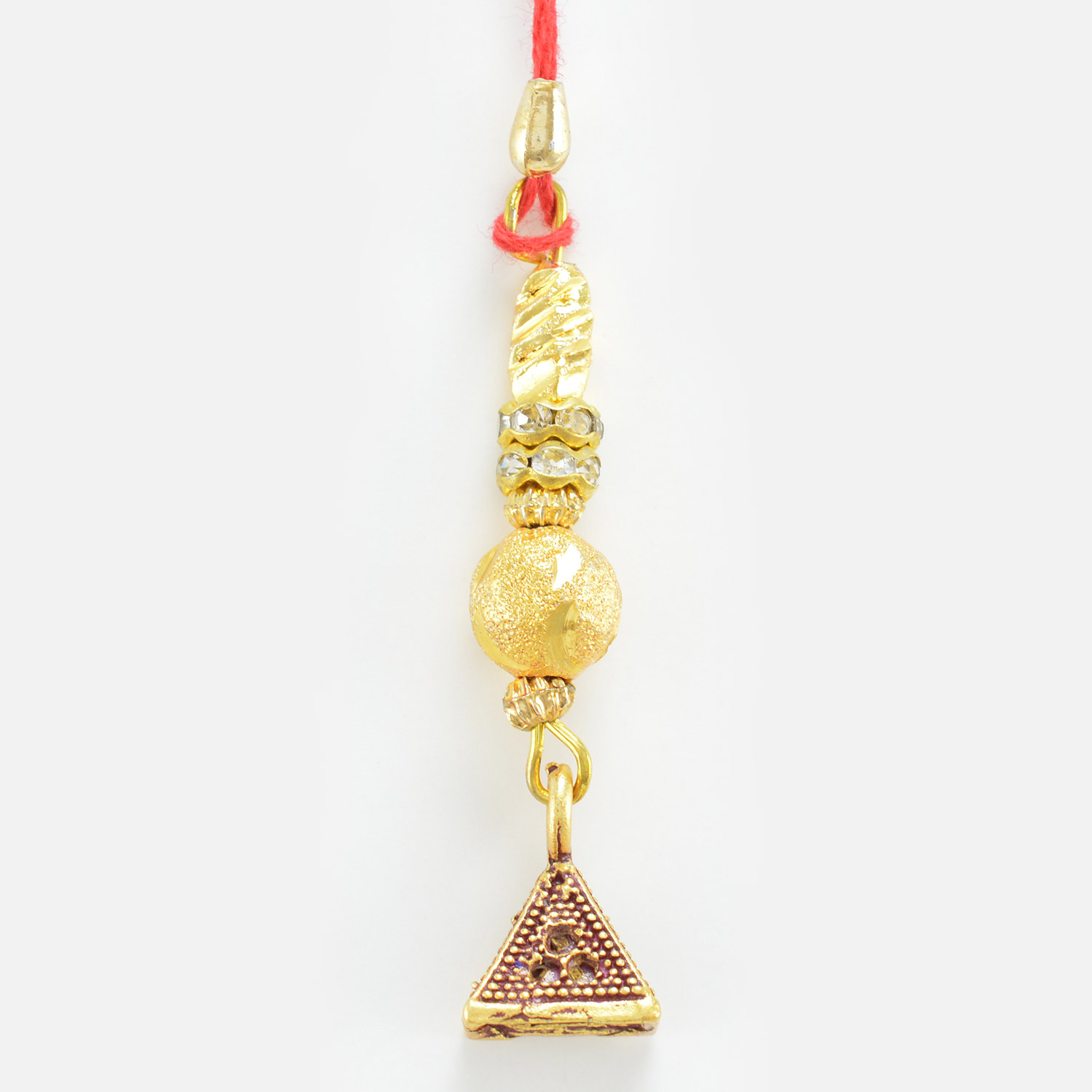 Diamond Bead Hanging Blue Triangle Lumba Rakhi
