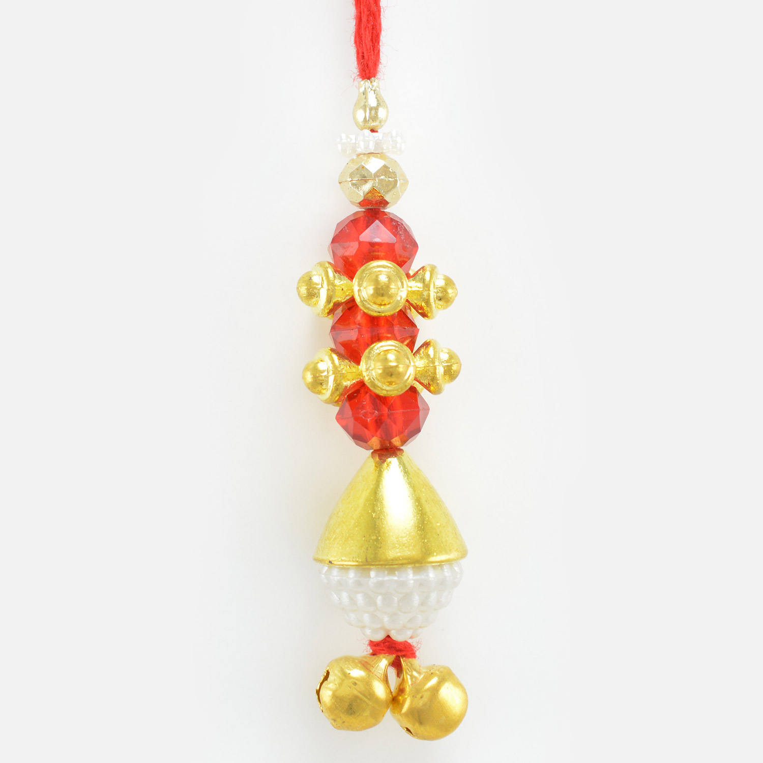 Golden Design Rakhi with White Pearl and Red Beads