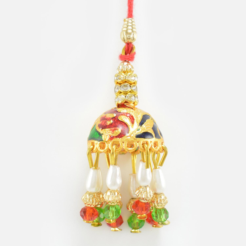 Golden Design Jhumka Type Lumba Rakhi with Pearl and Beads