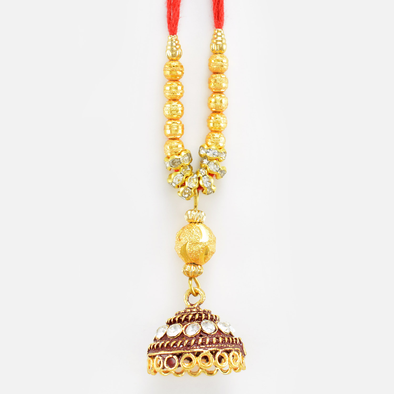 Magnificent Kundan Meena Work Lumba Rakhi
