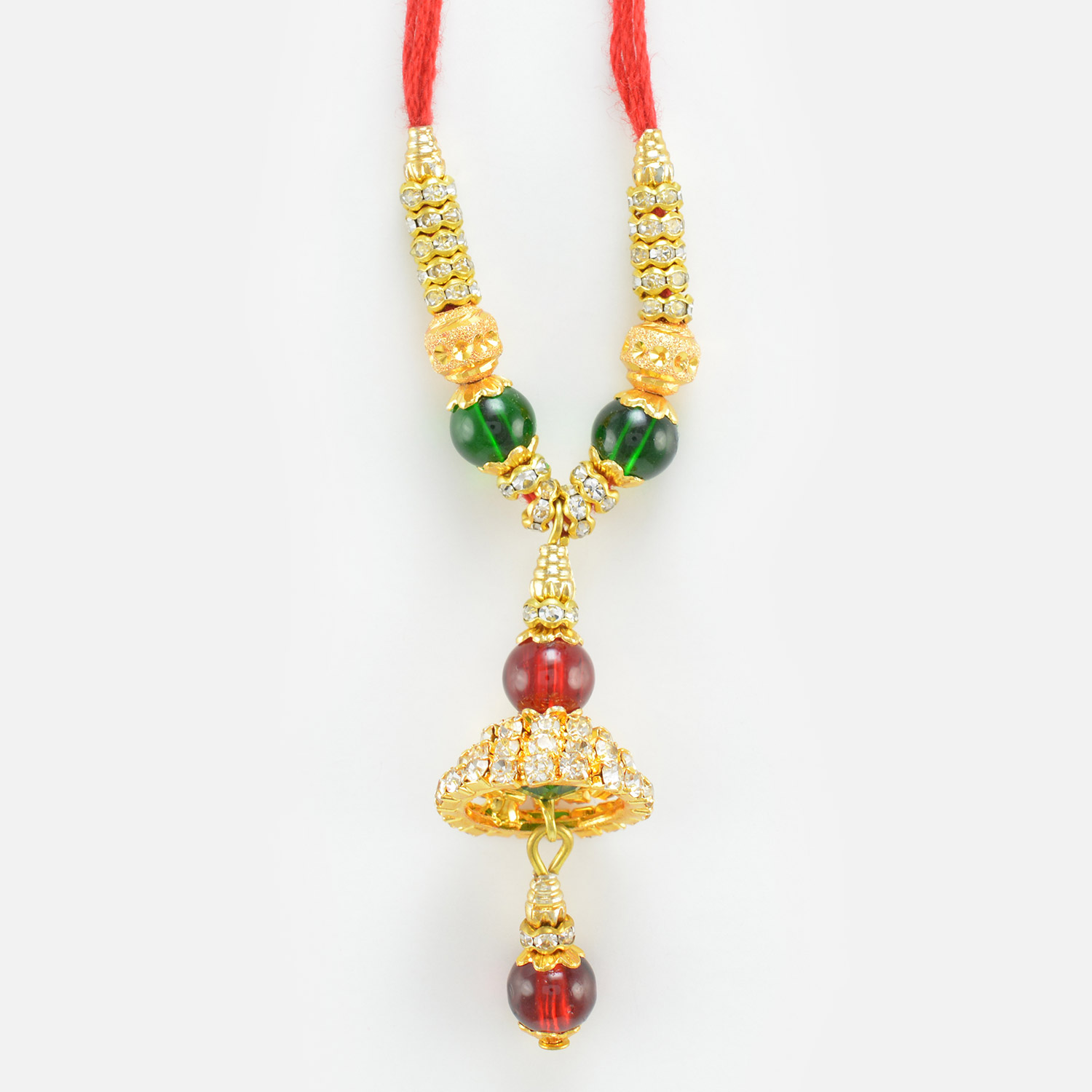 Multi-Color Beads with Golden Diamond Design Lumba Rakhi