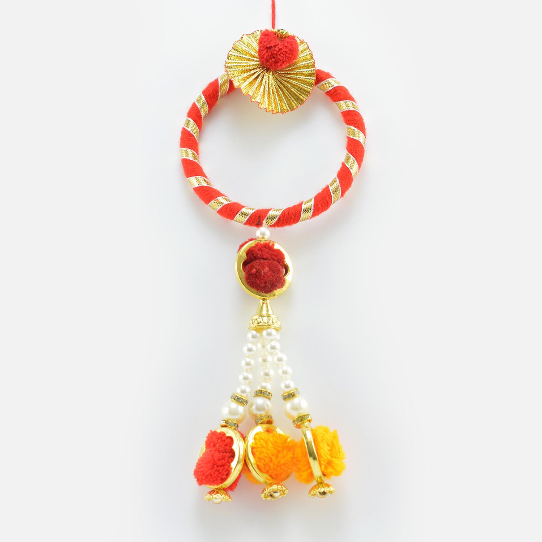 Floating Colorful Beads on Kada Type Lumba Rakhi for Bhabhi