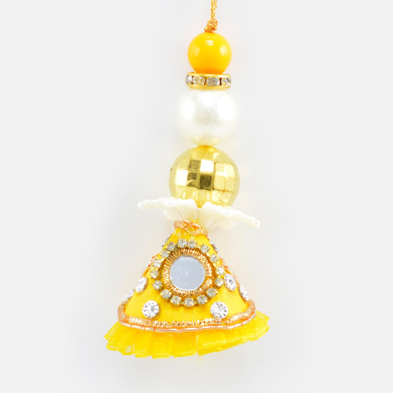 Colorful Big Beads Design ed Yellow Color Mirror Lumba Rakhi