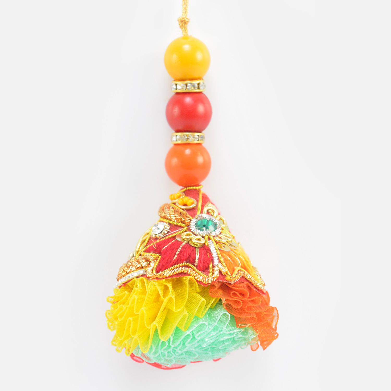 Big Colored Beads On Zardosi Work Base Colorful Amazing Lumba Rakhi