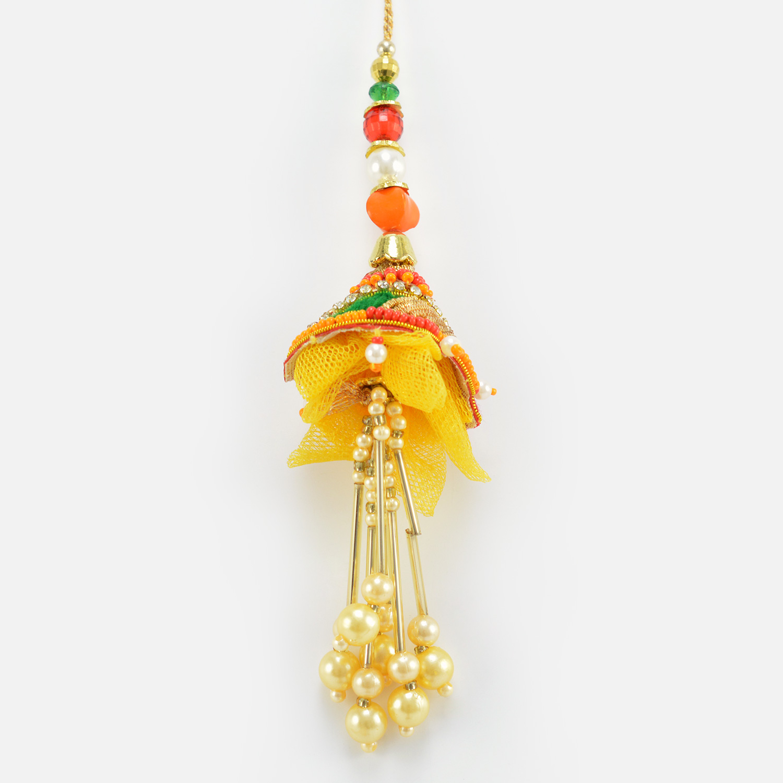 Hanging Liner Pearl Yellow and Orange Color Marvelous Lumba Rakhi