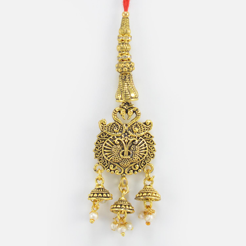 Nice Looking Two Mayur On Top of Golden Metallic Lumba Elegant Rakhi