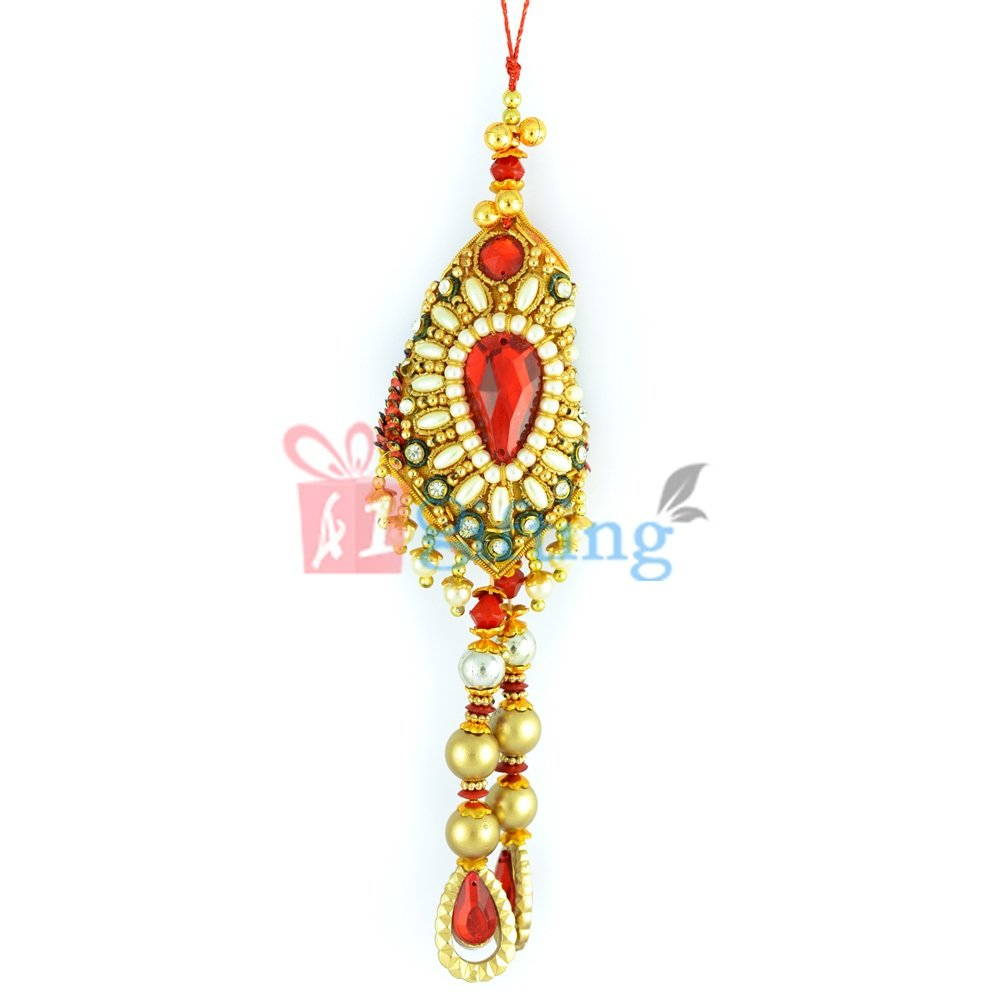 Pearl, Zardosi and Golden Diamond Beautiful Rakhi for Brothers Wife