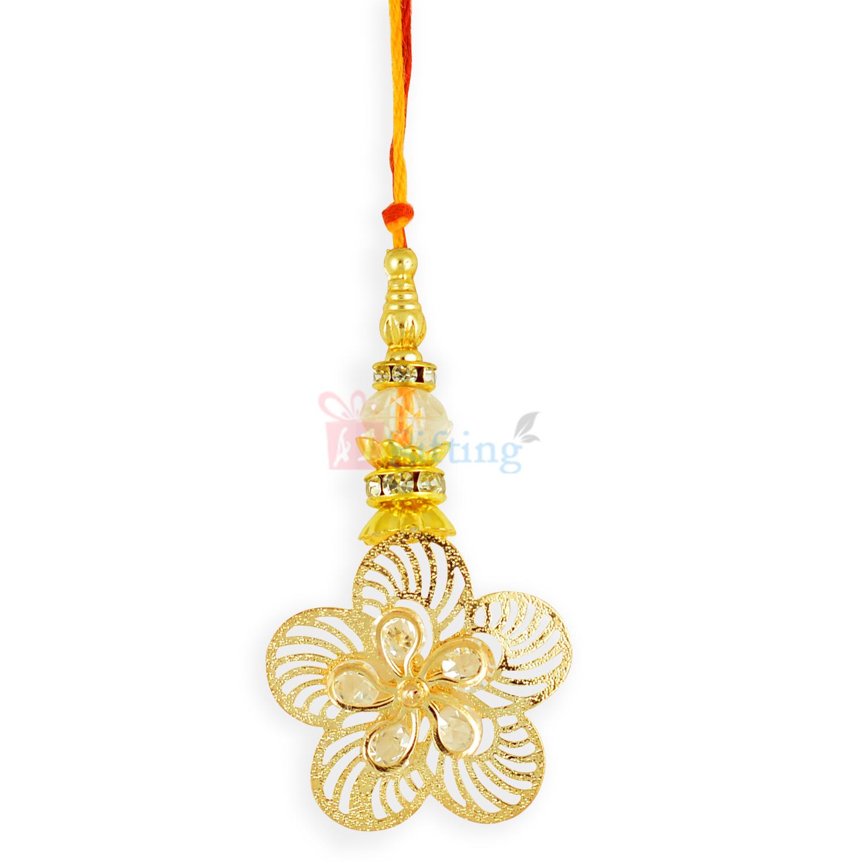 Golden Floral Designer Lumba Rakhi for Sister in Law