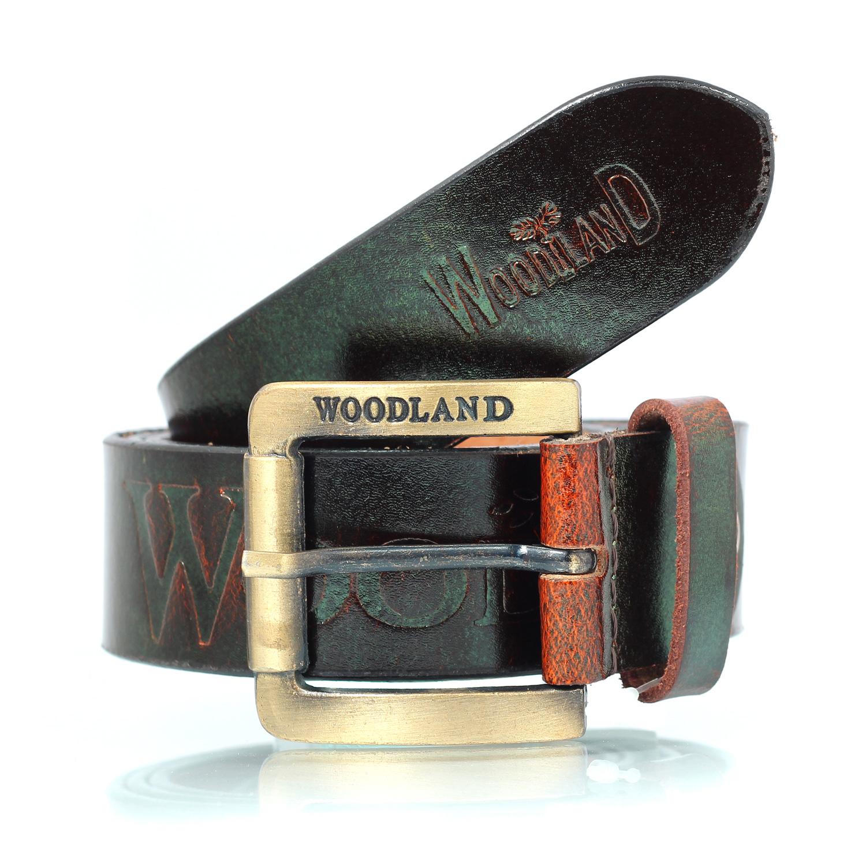 WOODLAND Printed Antique Design Leather Belt for Boys