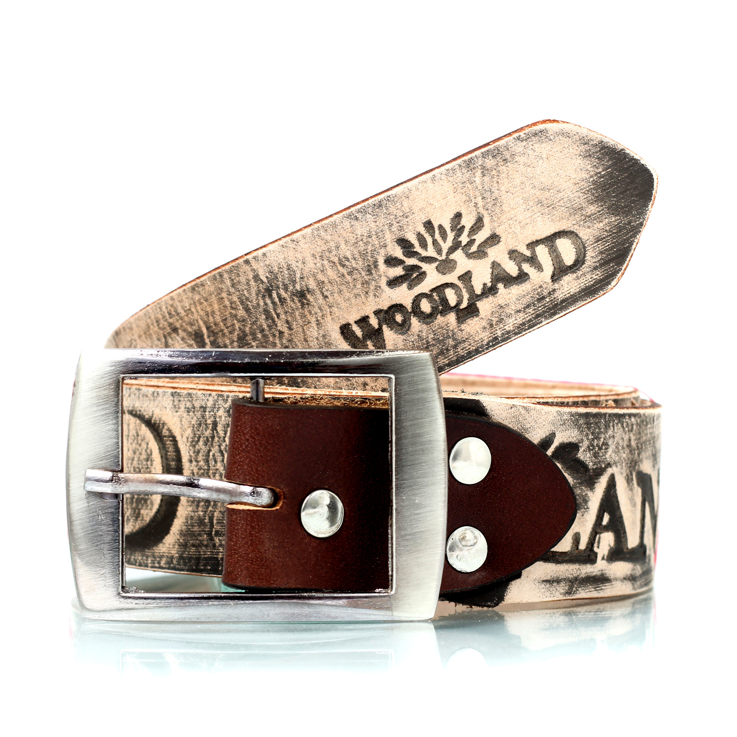 WOODLAND Printed Antique faded Design Leather Belt with squalled buckle