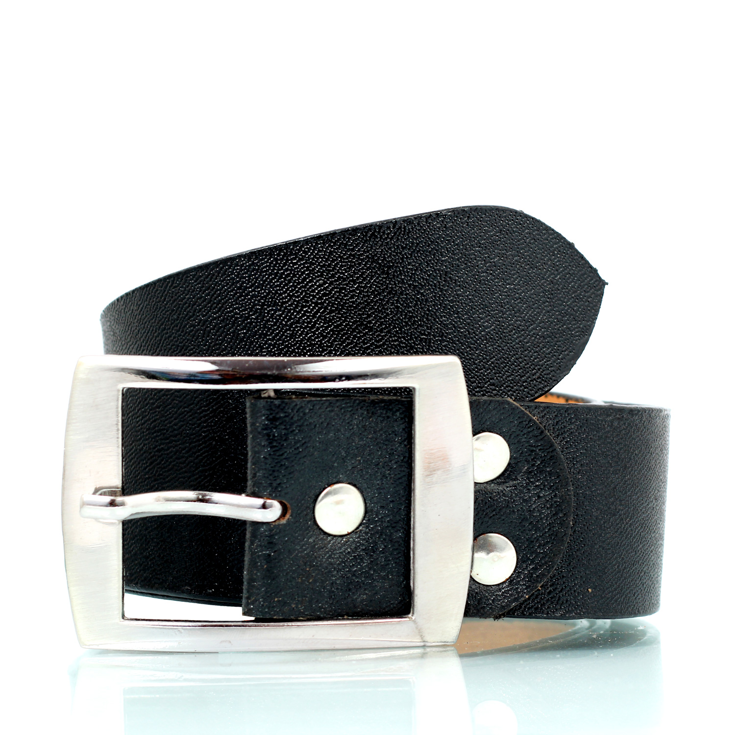 Dynamic textured pure black leather belt with metallic pins and buckle