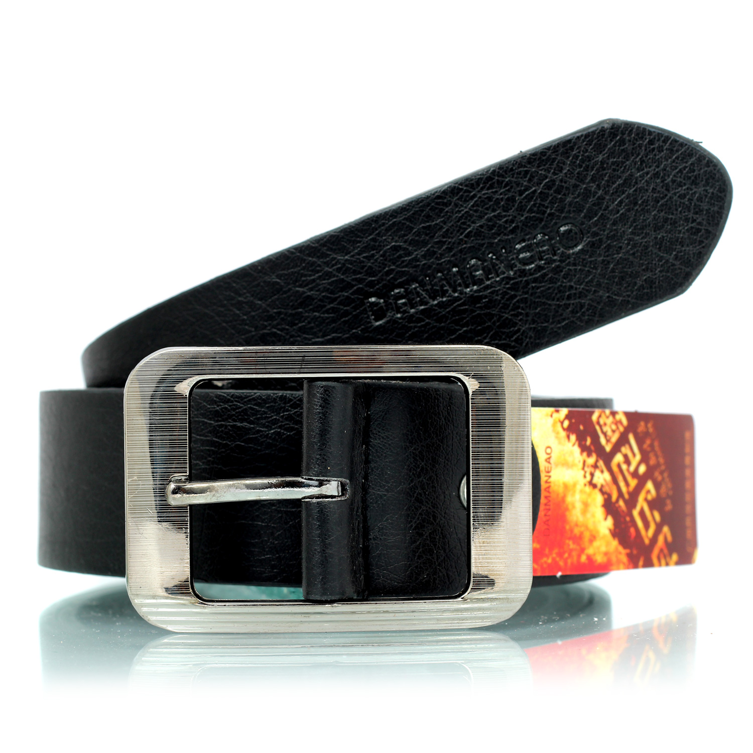 Strip design metallic buckle rough textured official belt for men