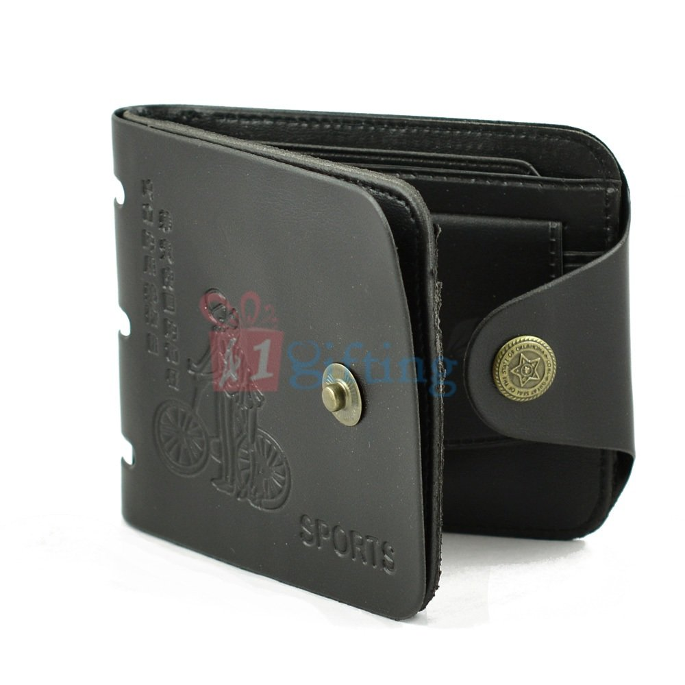 Sports Wallet for Men with Closing Strap Button