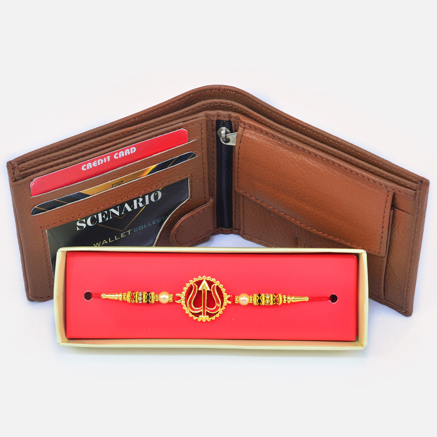 Amazing Designed Trishul Rakhi with Attractive Wallet for Men