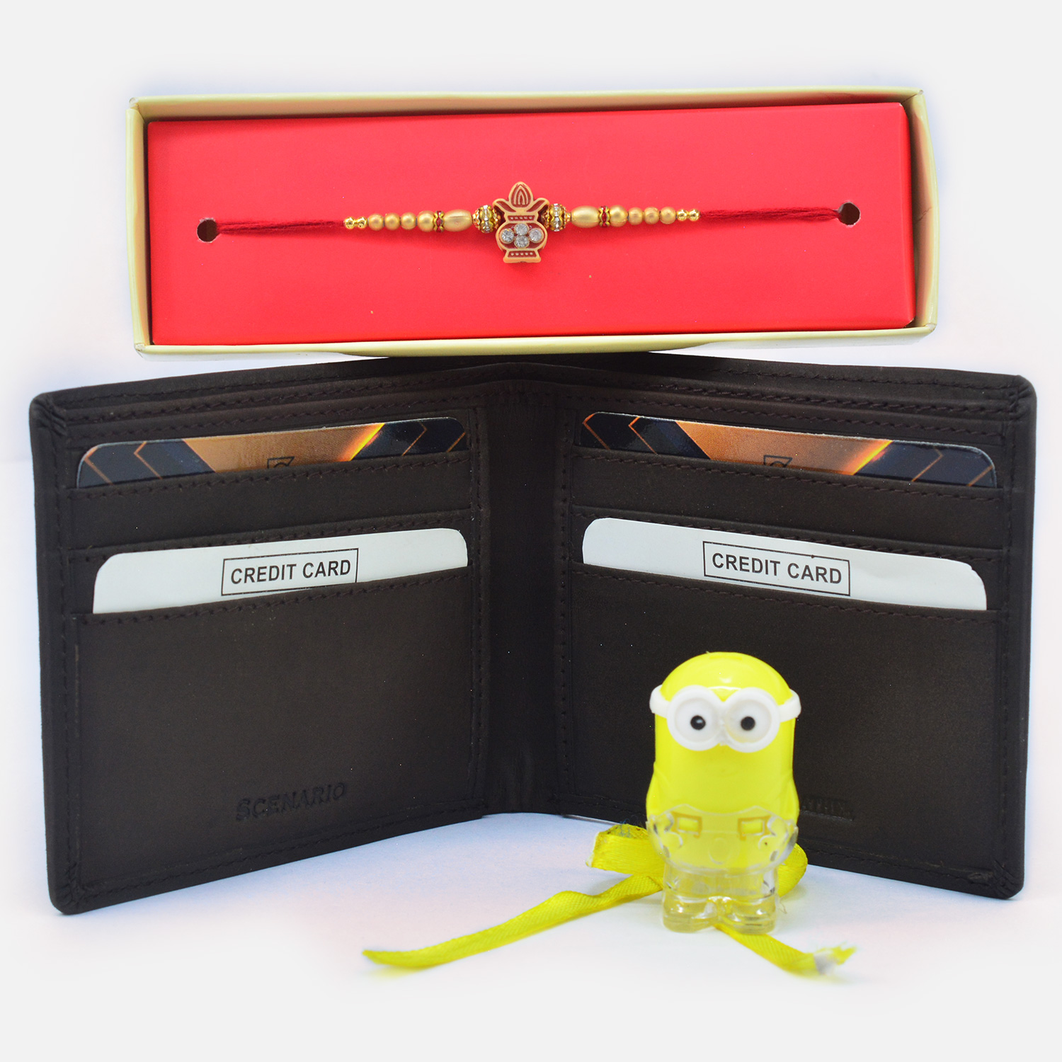 Gorgeous Kalash and Minion Rakhi with Attractive Wallet