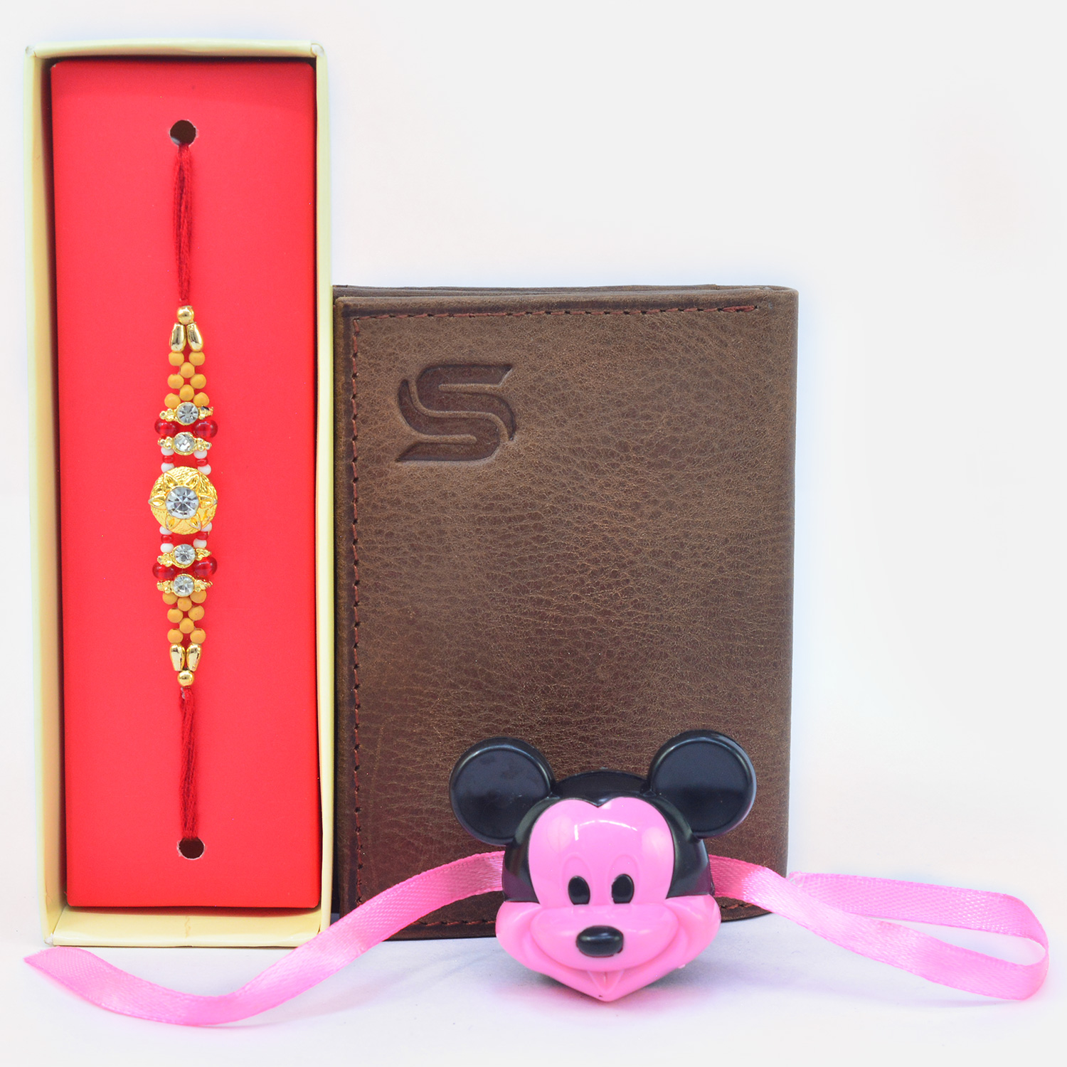 Amazing Multicolor Beads and Mickey Mouse Kids Rakhi with Leather Wallet for Men