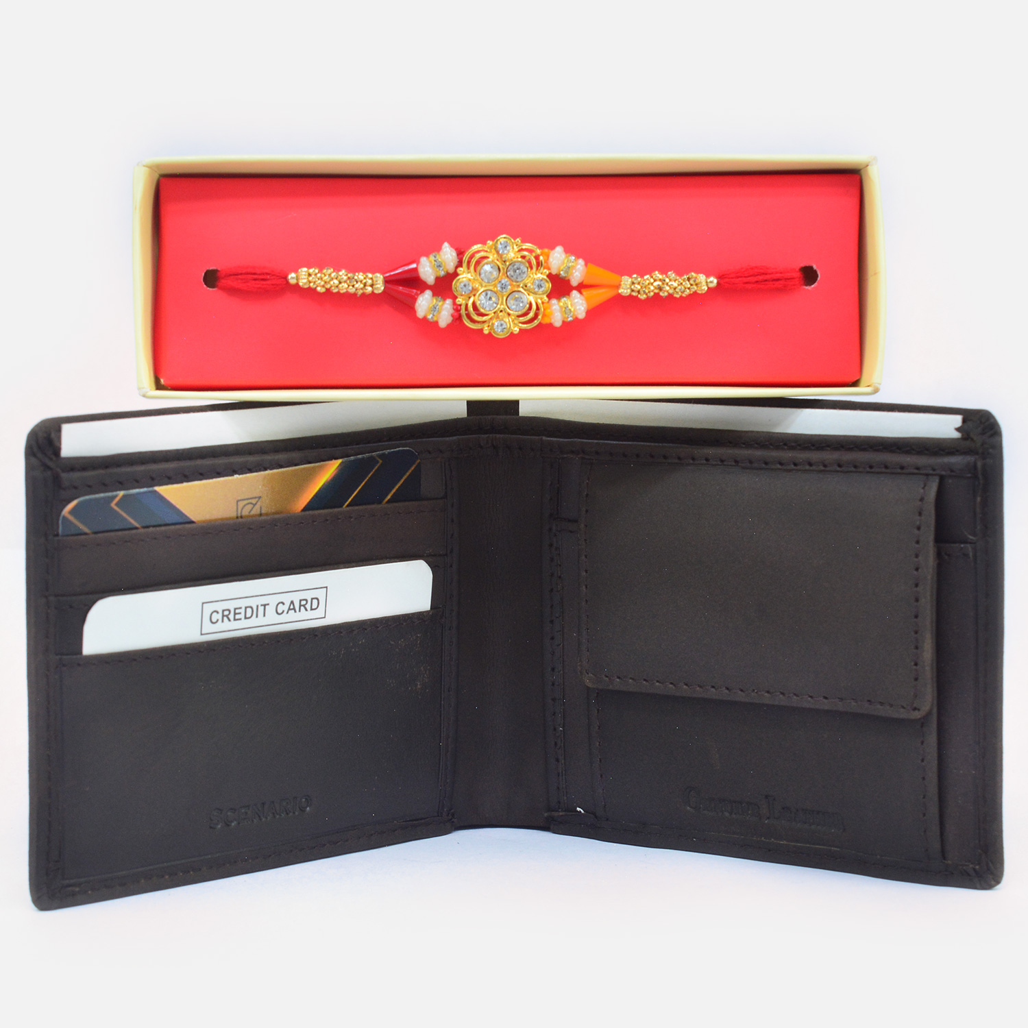 Spectacular Traditional Rakhi with Eye Catching Leather Wallet for Men