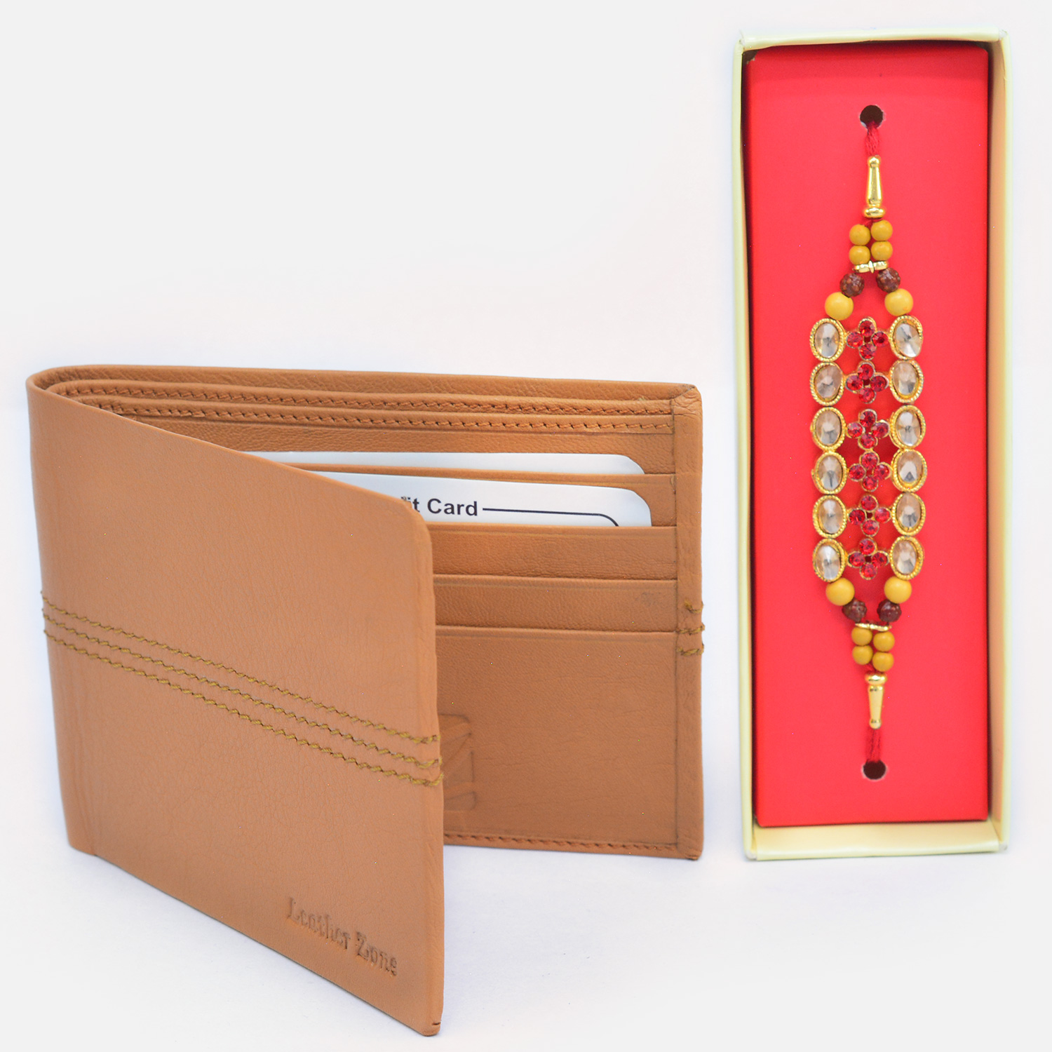Rich Look Traditional Beads Rakhi wtih Amazing Leather Wallet for Men