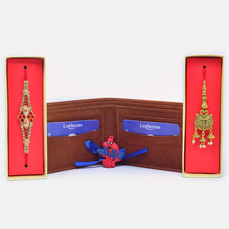 Gorgeous Bhaiya Bhabhi and Spider Men Kids Rakhi with Formal Leather Wallet for Men