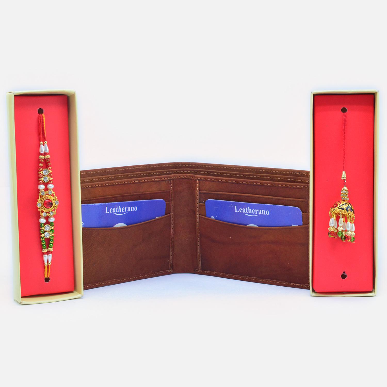 Amazing Bhaiya Bhabhi Rakhi with Card Holder Leather Wallet for Men
