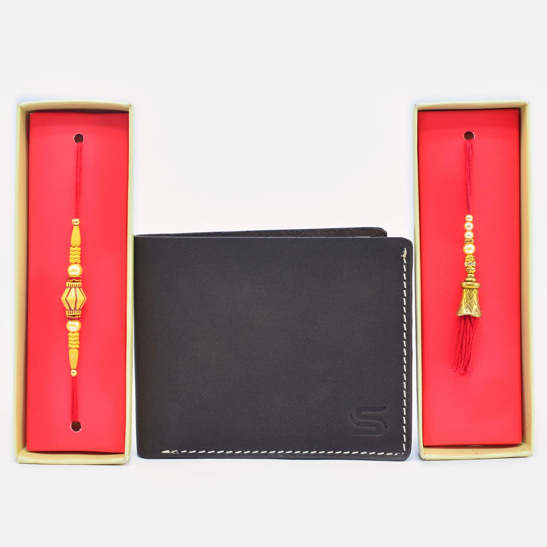 Magnificent Beads Bhaiya Bhabhi Rakhi with Leather Wallet for Men