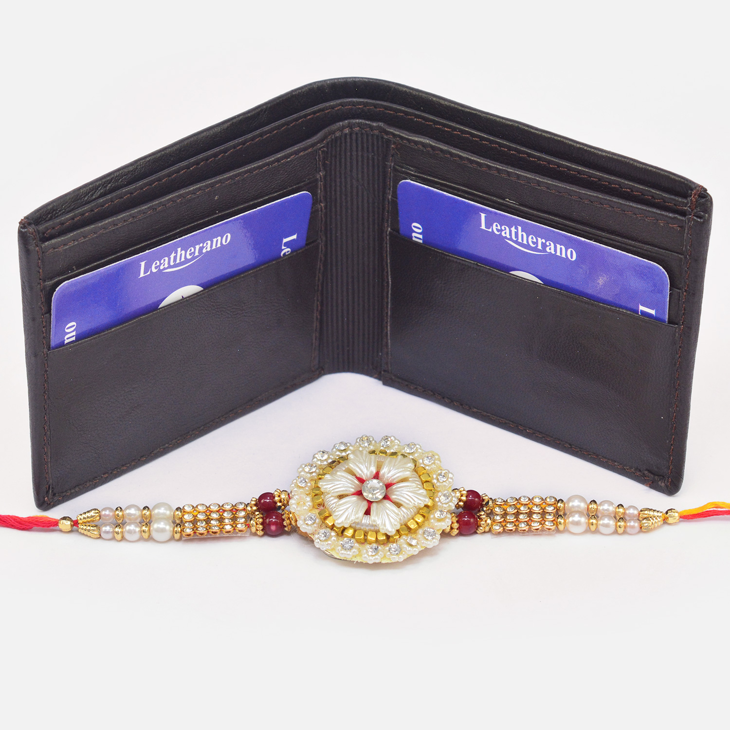 Rich Look Traditional Beads Rakhi with Casual Leather Wallet for Men