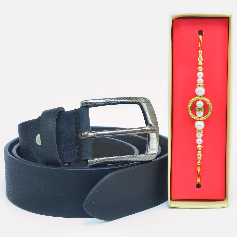 Superb Silver Beads Rakhi with Formal Leather Belt for Men