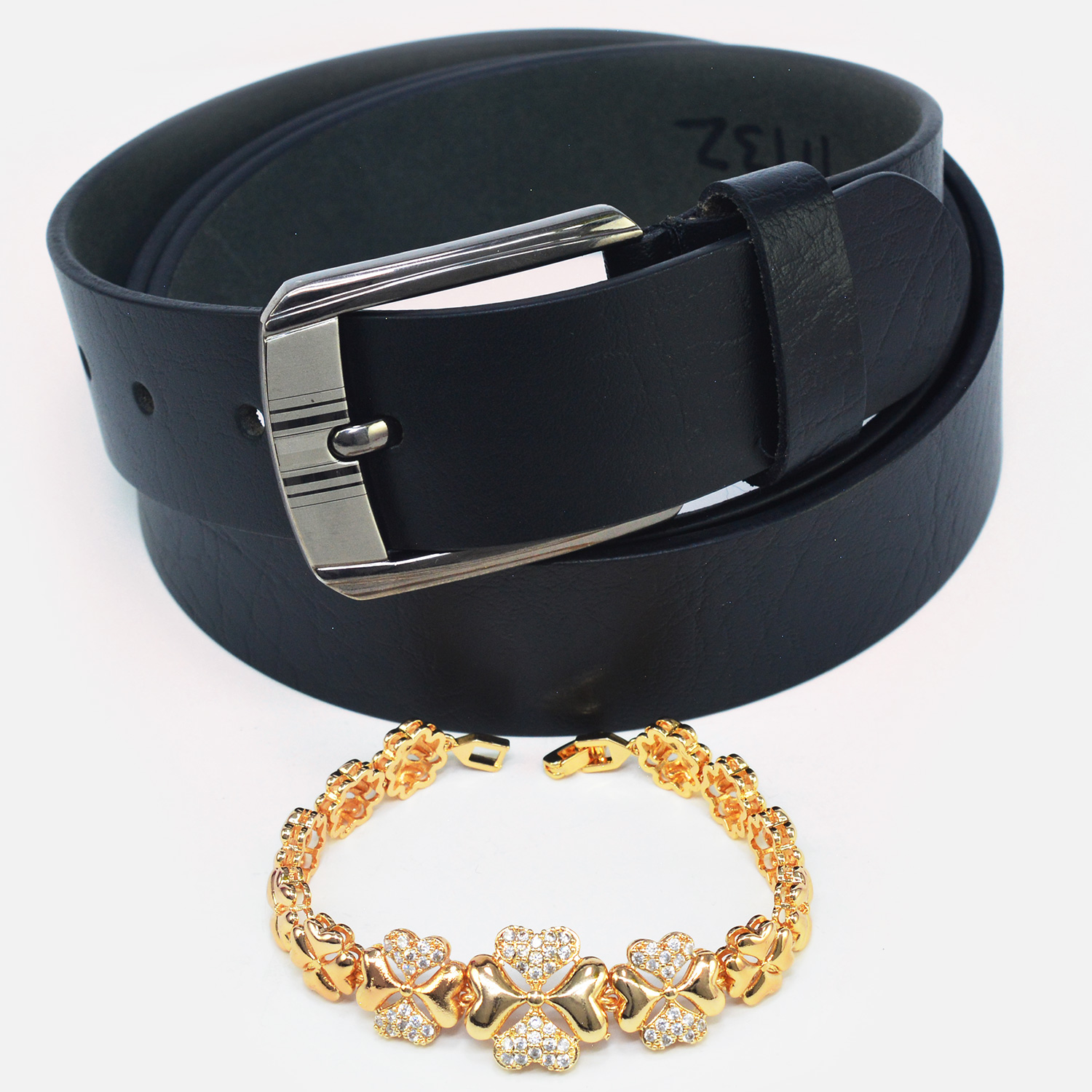 Rich Look Heart Design Rakhi with Pure Black Leather Belt