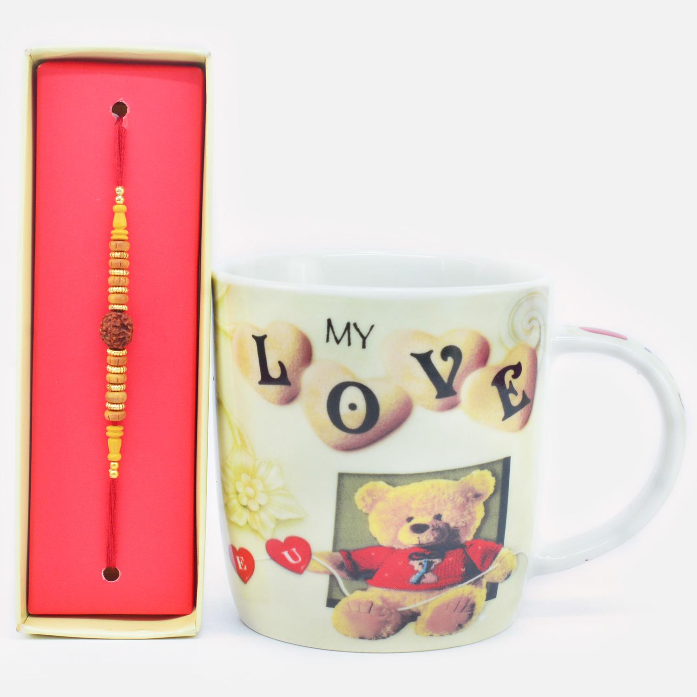 Gorgeous Rudraksha Beads Rakhi with My Love Teddy Printed Coffee Mug