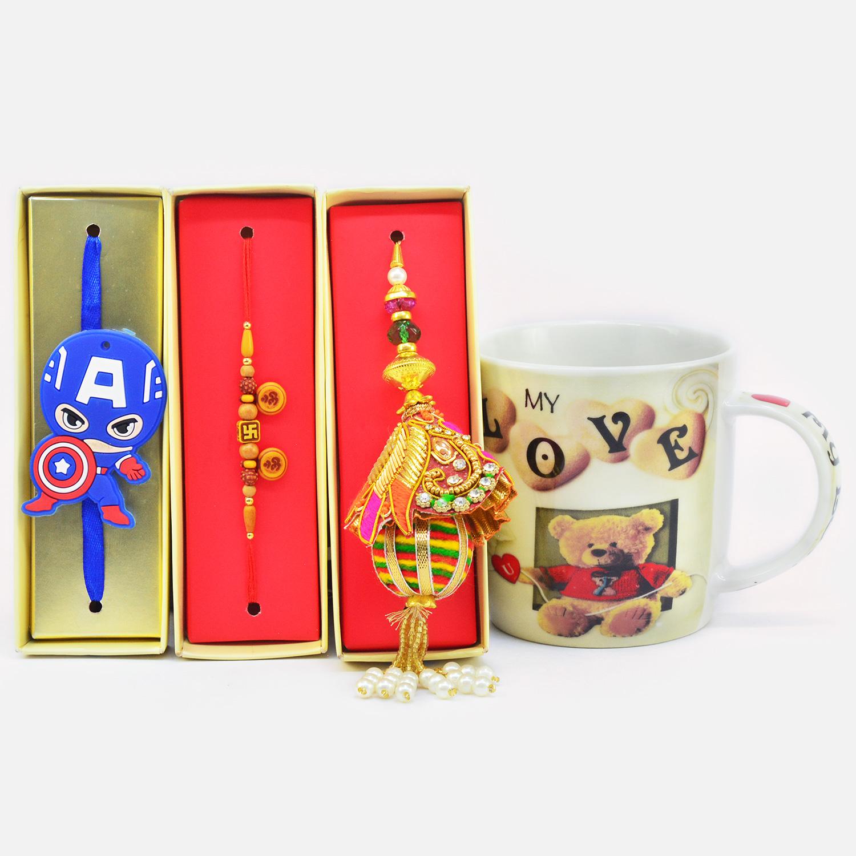 Rich Look Bhaiya Bhabhi and Kids Rakhi with My Love Teddy Printed Ceramic Coffee Mug