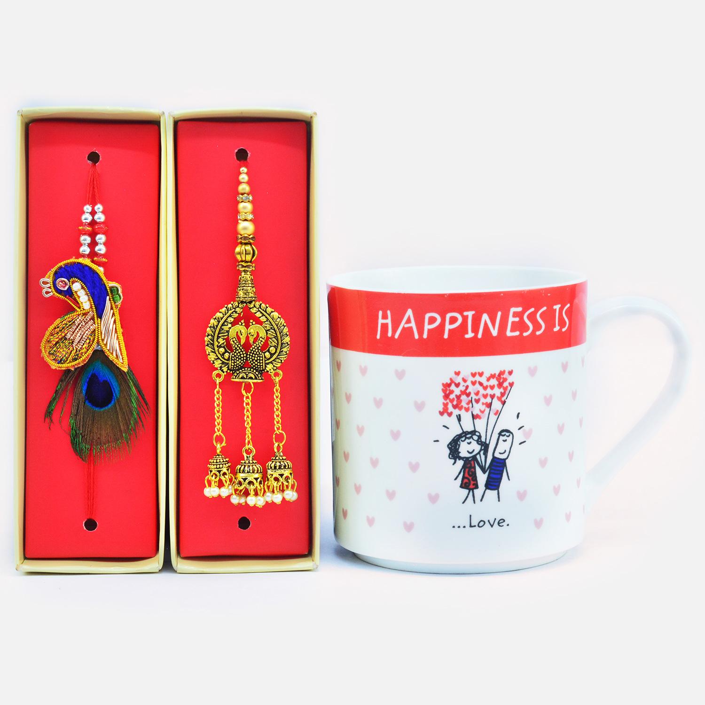 Beautiful Rich Look Zardosi Bhaiya Bhabhi Rakhi with Happiness is Love Ceramic Coffee Mug