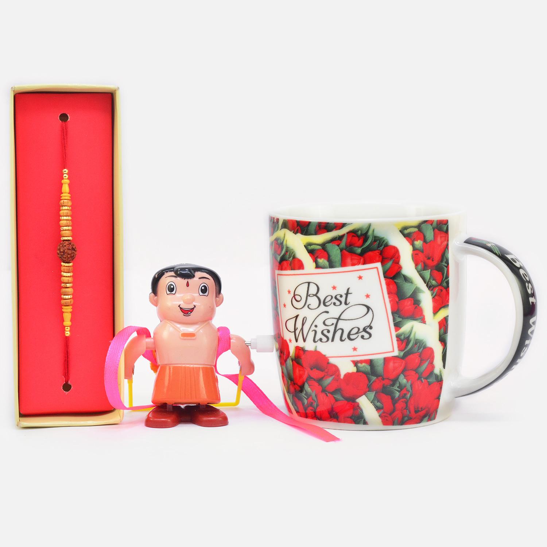 Splendid Rudraksha Beads with Kids Rakhi along with Best Wishes Ceramic Coffee Mug
