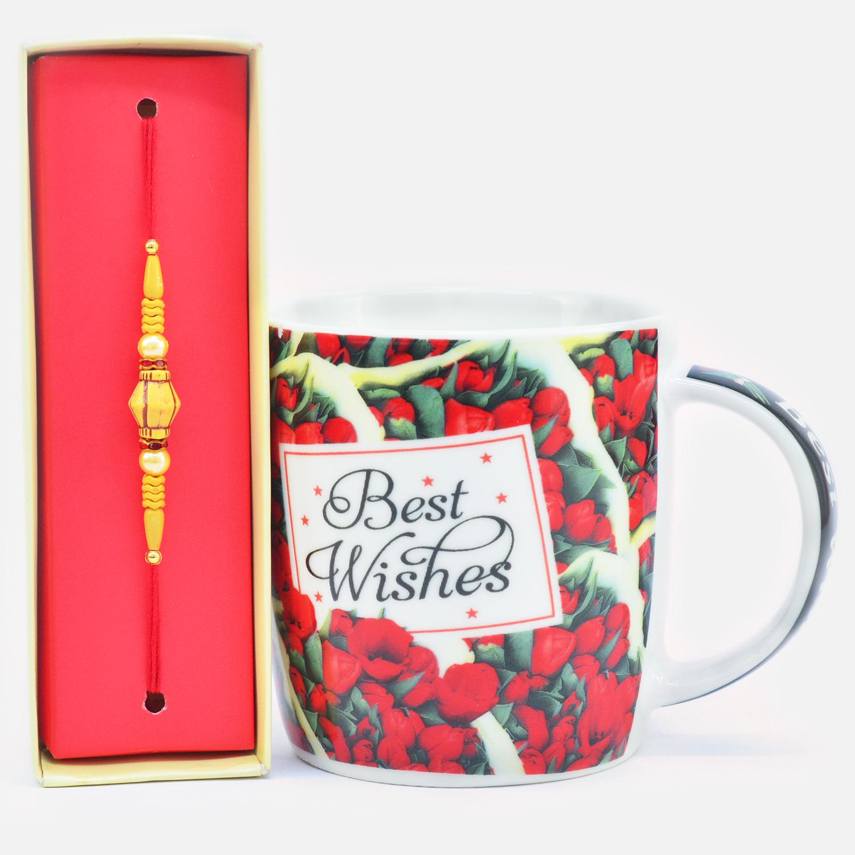 Amazing Sandalwood Beads Rakhi with Best Wishes Printed Ceramic Coffee Mug