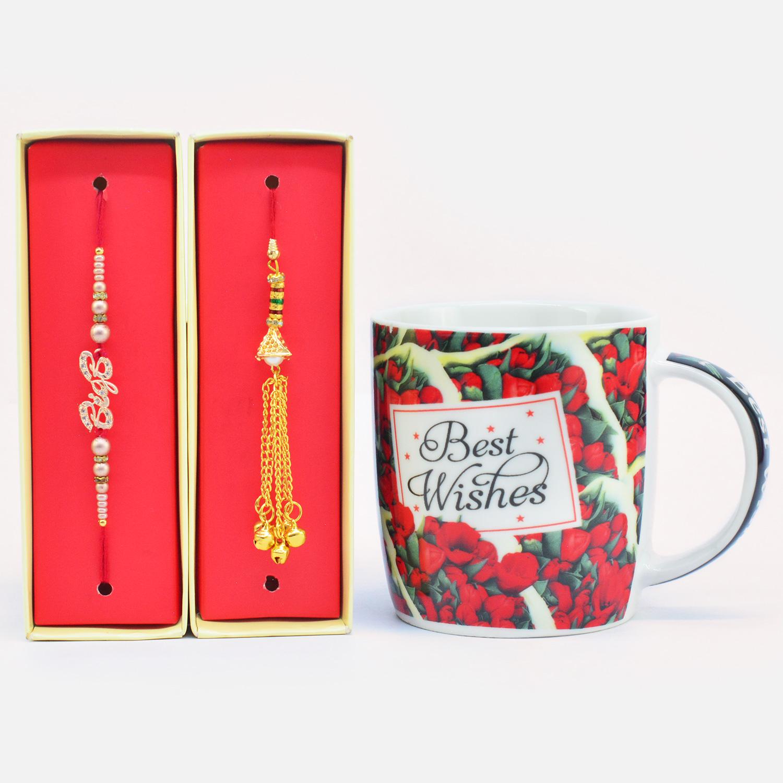 Superb BigB Rakhi with Gorgeous Lumba Rakhi  along with Best Wishes Printed Ceramic Coffee Mug