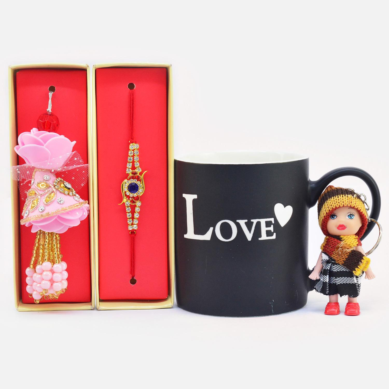 Gorgeous Bhaiya Bhabhi Rakhi with Doll Keychain along with Love Printed Ceramic Coffee Mug