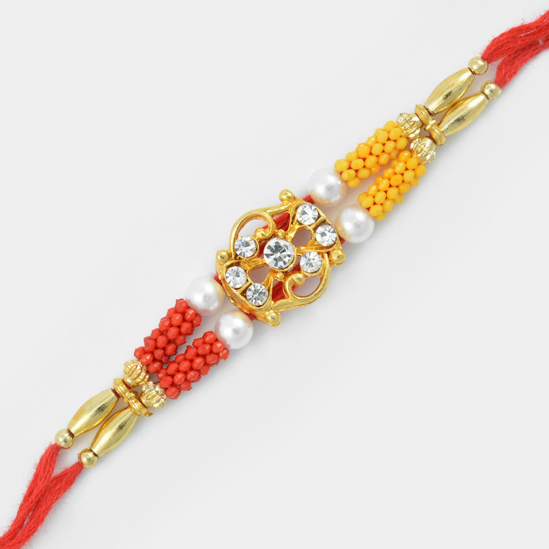 Awesome Golden Designed Diamond Mauli Rakhi with Pearl and Beads