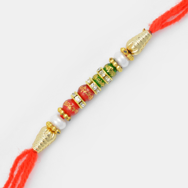 Red and Green Beads Mauli Rakhi with Golden Base Diamonds