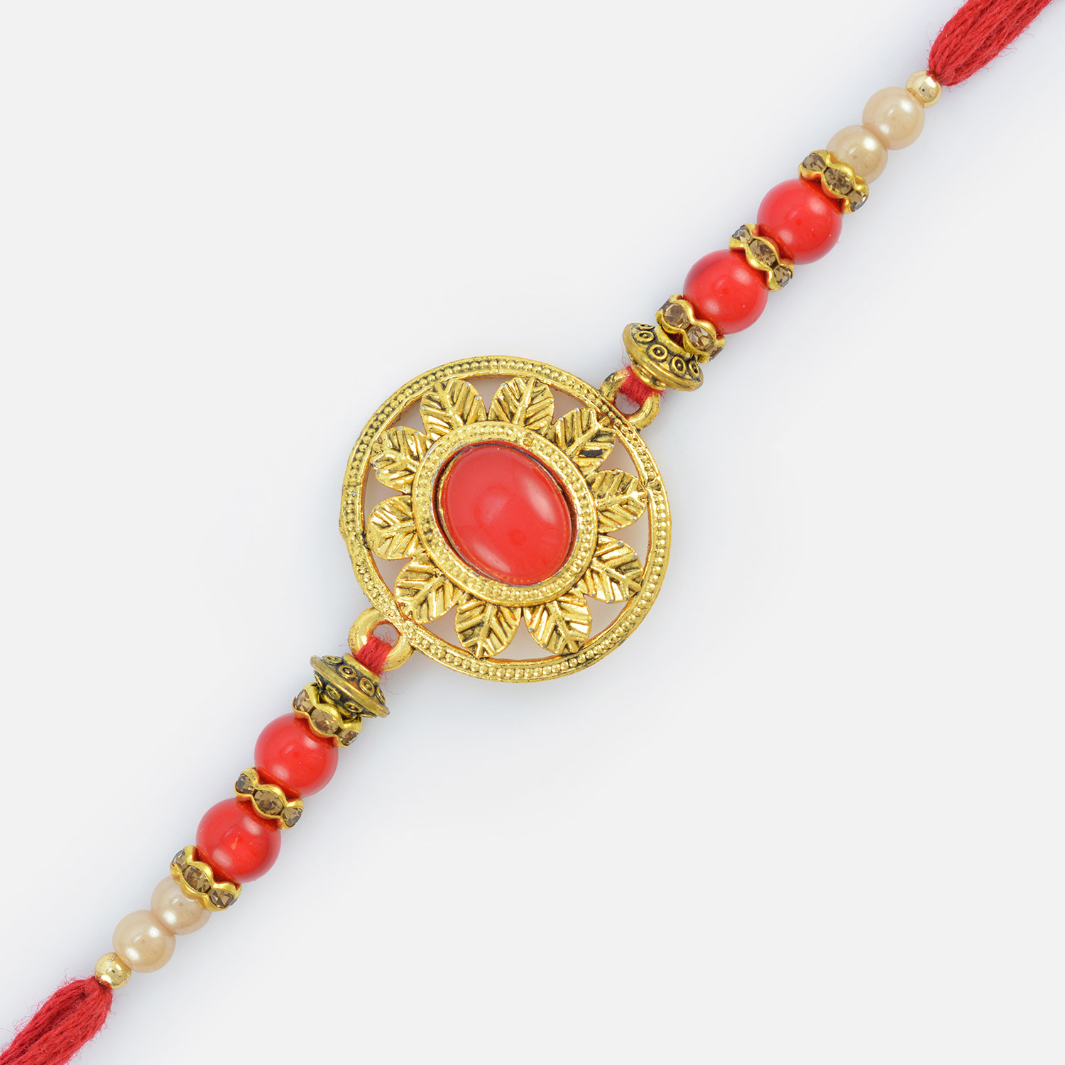 Glorious Red Stones Diamond pearl Rakhi