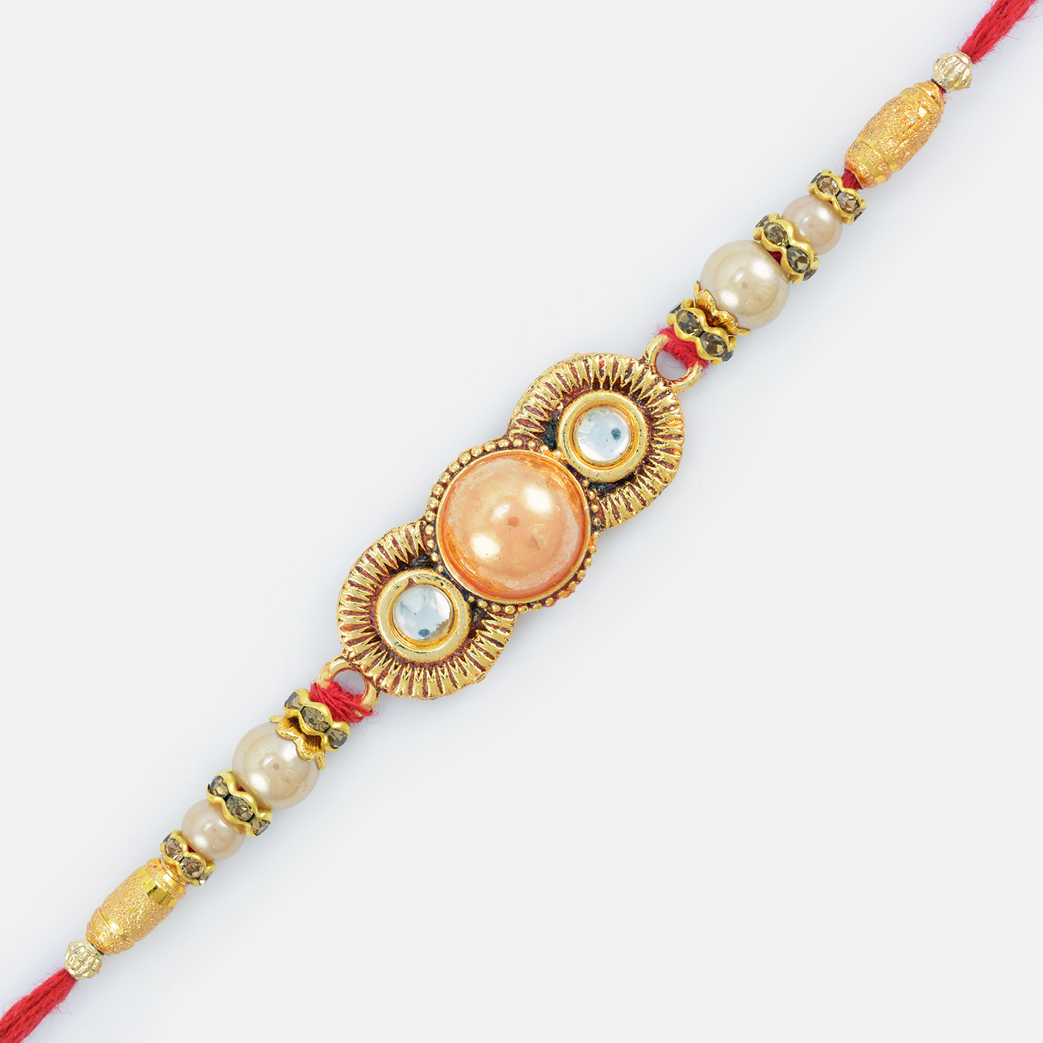 Spectacular Golden Designed Embossed Pearl Rakhi