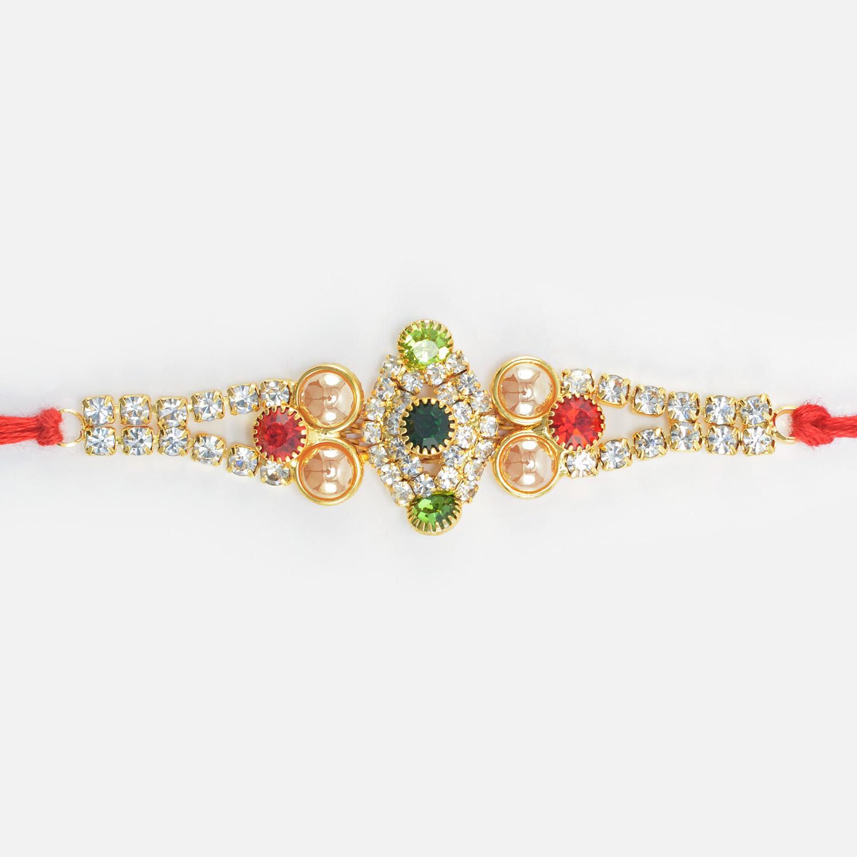Jewel Studded Unique Design Golden Color Pearl Rakhi for Brother