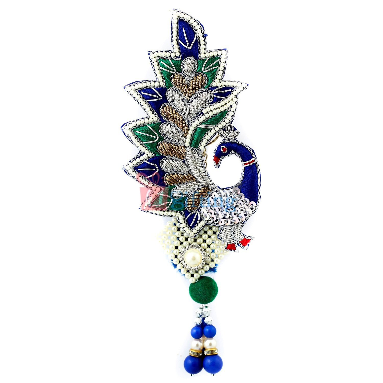 Excellent work of hand crafted peacock with pearl kamar satka